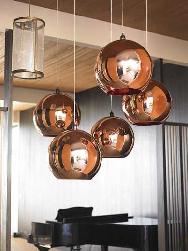 3. Tom Dixon copper lamp