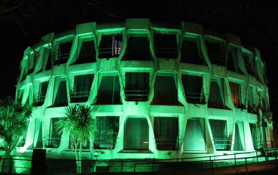 The US Embassy, Dublin, goes green for St Patrick's Day