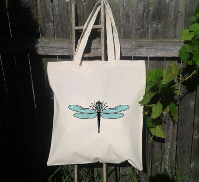 Dragonfly canvas bag on Etsy