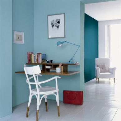 Dulux teal and cerulean office