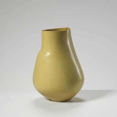 Sara Flynn mustard-glaze camber vessel, price on request, saraflynnceramic.com