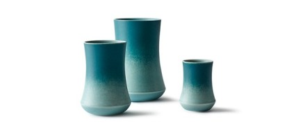 """With the Skala series I wanted to create a vase series that is beautiful as well as functional. At the same time I wanted to create a vase that acts as a blank plate from where the glaze can flow into each other and creates beautiful colour variations.The vases are made in porcelain and glazed with two matt glazes that flow together on the outside of the vases."" - Kristina Vildersboll"